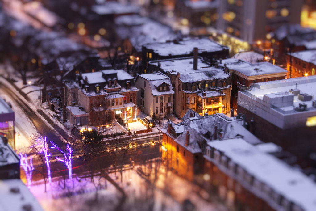 Snowy Purple Hour in Fashionable Mini-District