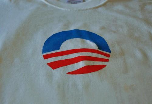 obama freezer paper stencil shirt