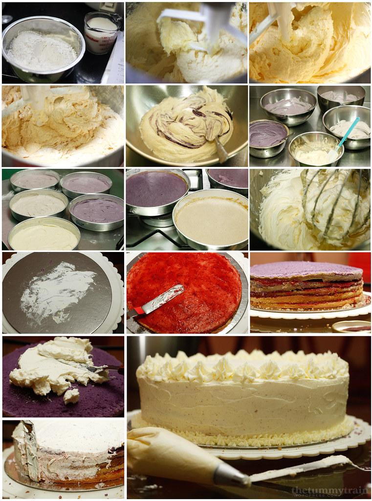 Purple Ombre Cake process