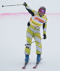 Tristan Tafel celebrates his first World Cup victory  in Bischofswiesen/Goetschen, Germany.