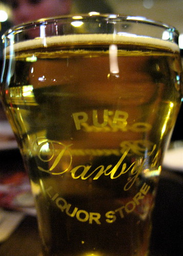 Darby's Pub taster glass with Red Racer Lager
