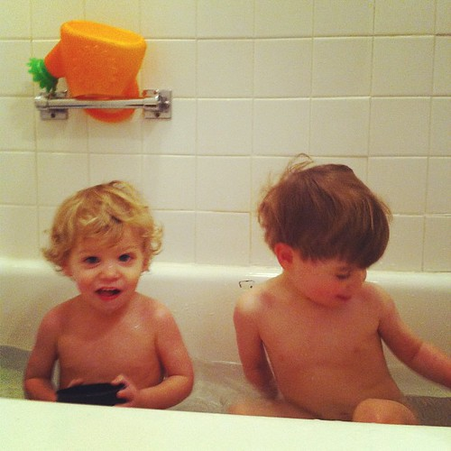 What do you do on a cold, snowy day?  Take a warm bath!
