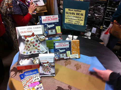 Book signing at the Pendleton Woolen Mills booth