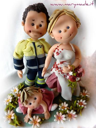 Cake Topper Infermiere con sposa e bimba