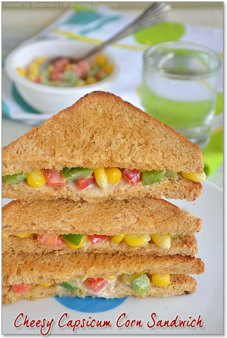 Cheesy Corn Capsicum Sandwich Recipe