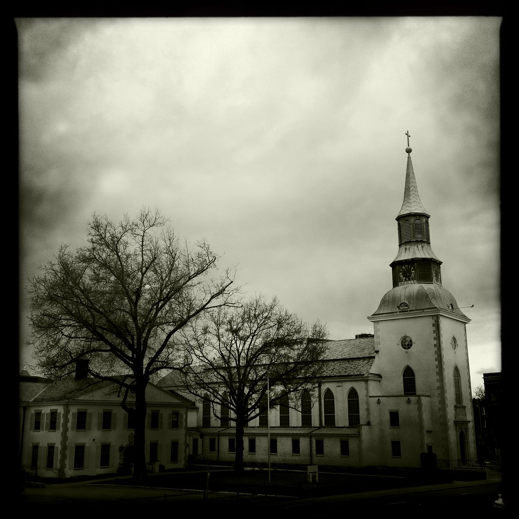 City church in monochrome