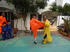 Mon, 12/03/2012 - 16:26 - Shifu Shi Yan Du (Kanishka Sharma) is the Official Buddhist Name (Darma Name) given by Shaolin Temple under the Guidance of Abbot Shi Yongxin, is a Shaolin Warrior from Shaolin Temple, China. He is the First Indian  Shaolin WarriorTo be Trained at Shaolin Temple Under the Guidance of Shifu Shi Heng Jun who introduced him to legendary Grand Master Suxi and his kungfu Brother Shifu Shi Deyang and currently is head of Shaolin India. Under Shifu Shi Heng Jun Guidance Shifu kanishka got trained in Shaolin jiben gong ShibaShi, Shaolin Tai Tzu Chang quan, Shaolin Wu bu Chuan,Shaolin Qi Xing Chua, Shaolin Xiao Hong Chuan, Shaolin Luohan Shi Ba shou, Shaolin Luohan Duanda, Shaolin Luohan chuan, Shaolin Wuxing Bafa (5 animal 8 movement), Shaolin Rumen chuan, Shaolin Kung Chuan, Shaolin Yin Shou Gun, Shaolin 9 Section whip Chain, Shaolin Broadsword (Dao), Shaolin Jian( straight sword),Shaolin Fun Mo Gun, Shaolin XinYi Quan , Shaolin Ba Duan jin and Shaolin yi jin jing Qi Gong. Shifu Kanishka also studied Shaolin San Sa liu Duanda( 36 short fighting combination of Shaolin kungfu) and Shaolin 36 Yin Chin-Na( locking system) In the year 2005 Shifu Shi Hengjun Travelled to France to spread the knowledge of Shaolin Chan Wu. Since then Shifu kanishka became disciple of Legendary Grand Master Shi Suyi (Liang Yiquan) who Deputed his Disciple Shifu Shi Yanfang who trained him in Shaolin Mehiua Chuan, Shaolin Pao Chua, Shaolin Hu chuan( Tiger fist), Shaolin Eagle Fist, Shaolin Tanglang Quan, Shaolin Kan jia chuan, Shaolin Yangjia Shi San Qiang( 13 Spear), Shaolin Moon Spade, Tongbei Chuan, Traditional Combat like Shaolin Tang fang ba, Hubpuba and introduced him to highest level of Shaolin Fighting called Xin Yi Ba. Shifu Shi Yanfang also trained Shifu kanishka intensly in Shaolin Sanshou( Free Fighting) specially in Shao Jiao( wrestling) and Shuai Fa( Takedowns) In the year 2008 Shifu Kanishka got the honor to train with Da Shifu Shi Yanzi ( a famous monk who has spent 15 years in Shaolin Temple and was known as the Iron bull and has achieved the highest level of shaolin skill called Xin Yi Ba.) Under the guidance of Da Shifu Shi Yanzi Shifu Kanishka Studied Xiao hong Quan a version which included Xin Yi Ba move called Pi Tui Xie Xing which is one of the most powerful move for Combat. Once mastered this move alone can counter 1000 movements or kicks and punches. Shifu Kanishka during the year 2006 under the Guidance of Grand master Wang studied the Southern Shaolin 18 Luohan System which was very Secretly Taught at that time and was made famous by lengendary Fighter called Hongxi Guan of Southern Shaolin Temple www.shaolinindia.com