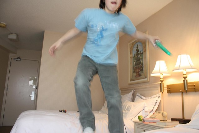 hotel bed jumping photos, 2012