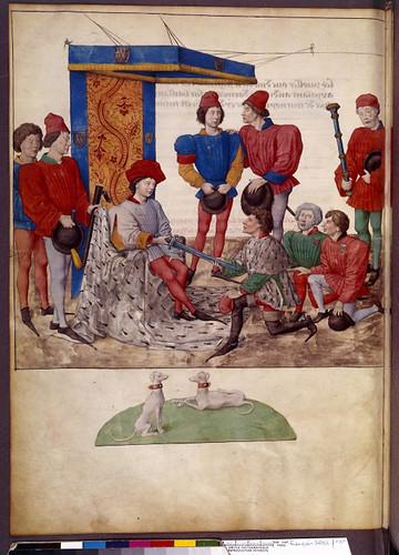005-Le libre des tournois…1460- René d' Anjou-Français 2692, fol. 9v-Señor lanzando el desafio del Torneo