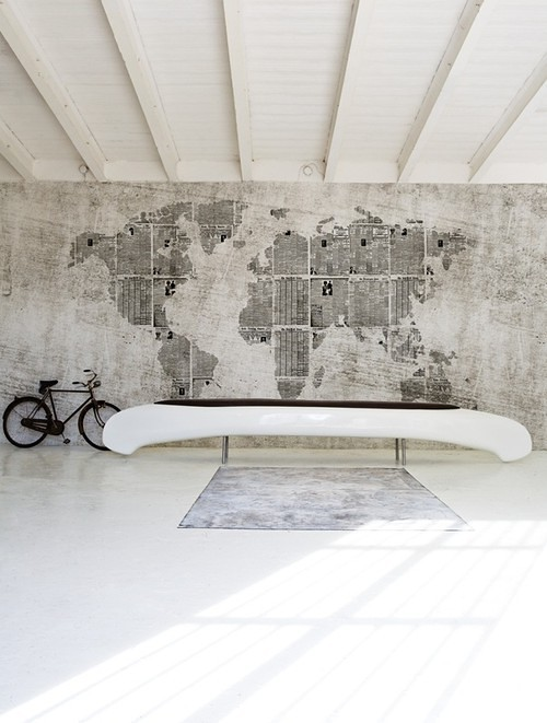 maps as wallpaper, Wall & Deco, via April and May