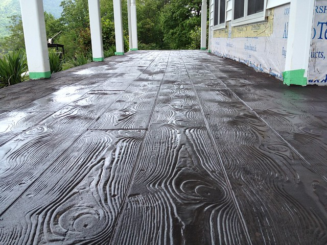 Stamped Concrete Overlay With The Wood Plank Pattern In In