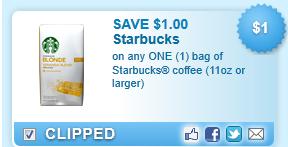 Starbucks Coffee 11 Oz Bag Coupon