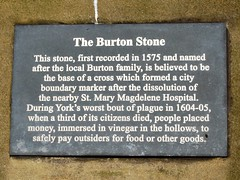 Photo of The Burton Stone and St. Mary Magdelene Hospital, York bronze plaque