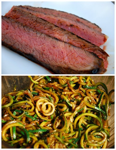 Balsamic London Broil And Zucchini Noodles