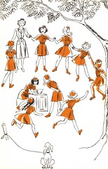 Girl Scout Brownie Troop art in 1951 by Artist Ruth Wood
