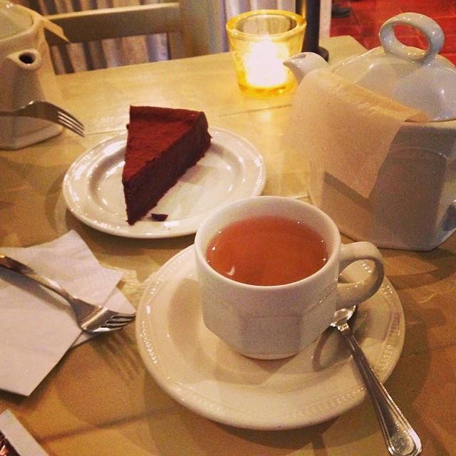 Five o'clock peach tea and chocolate...