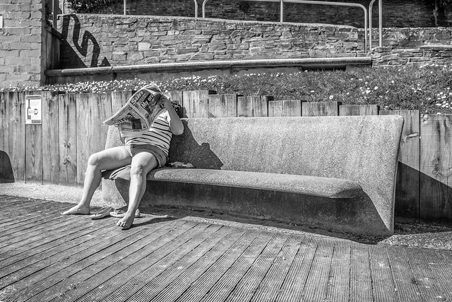 Reading on the bench...