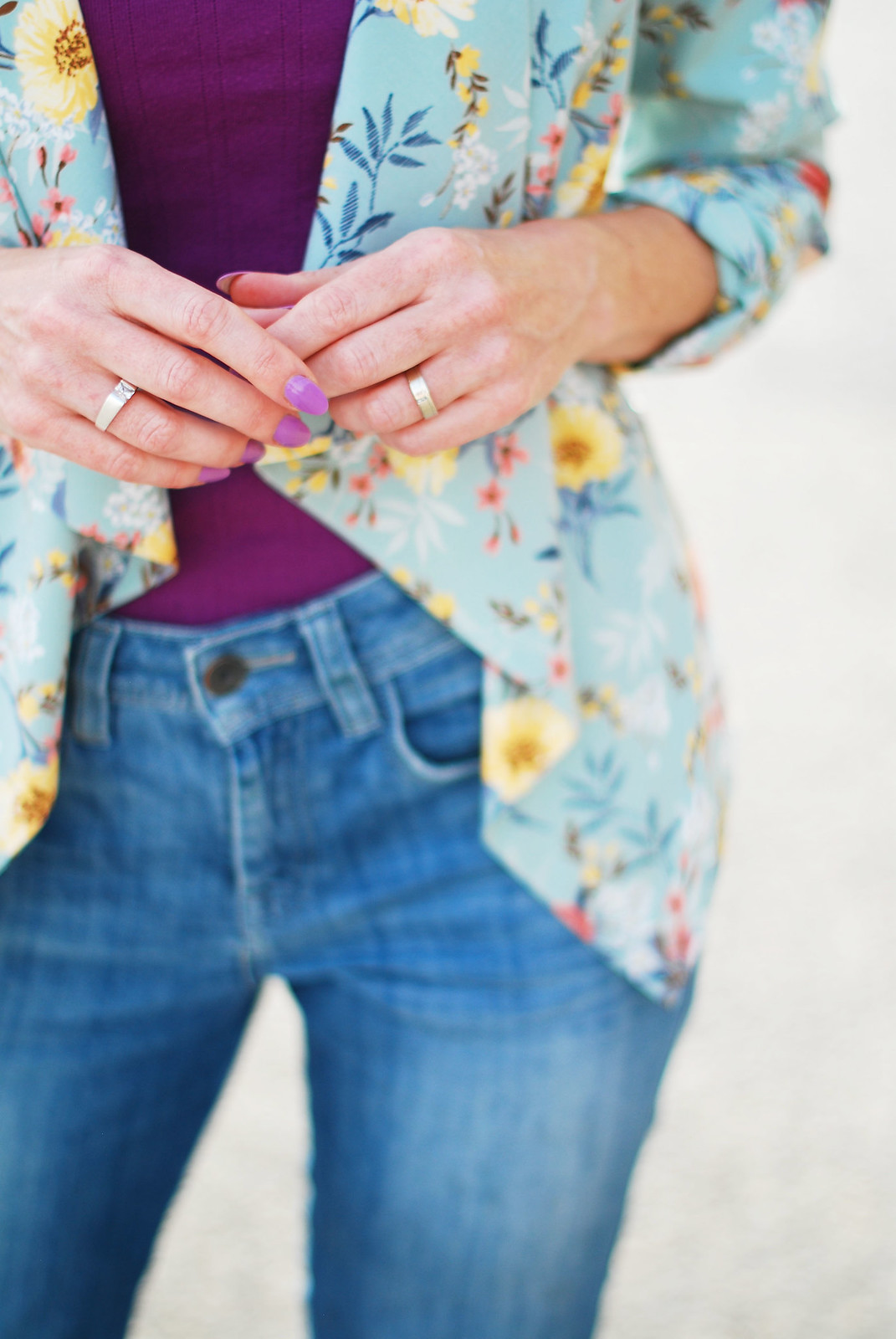 Casual Spring Summer look: Floral drape jacket, purple tank, boyfriend jeans   Not Dressed As Lamb