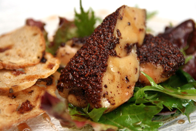 Cocoa bean crusted foie gras with port wine reduction