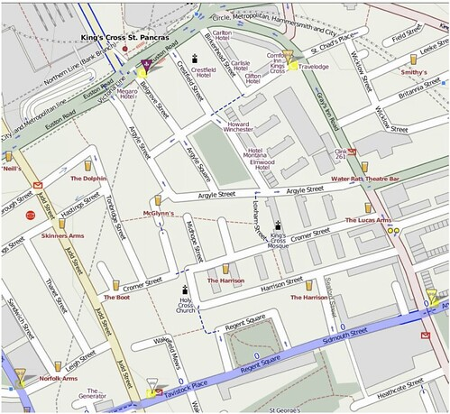 Map of Kings Cross area