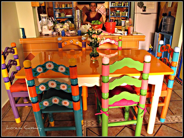 Marisol 6 painted chairs and table flickr photo sharing for Painted kitchen chairs