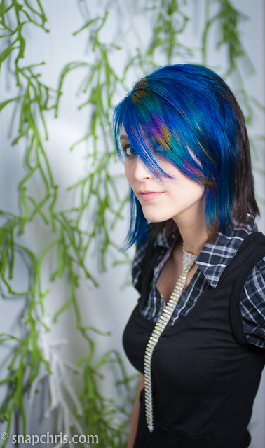 Blue haired teen