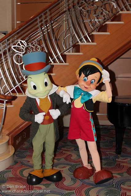 Meeting Pinocchio and Jiminy Cricket