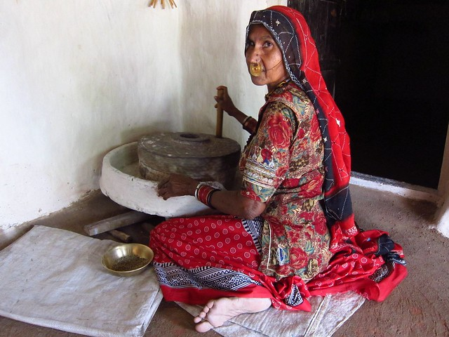 Bishnoi Woman Making Millet Flour