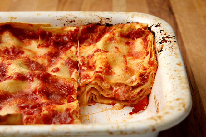 tomato and four cheese lasagne