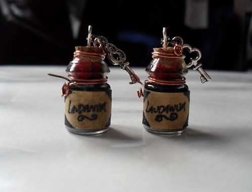 laudanum bottle earrings