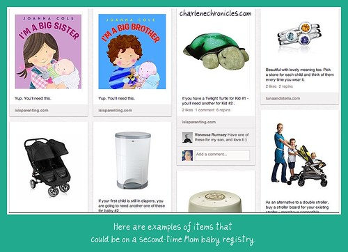 Examples of Items on a Second Time Mom baby registry