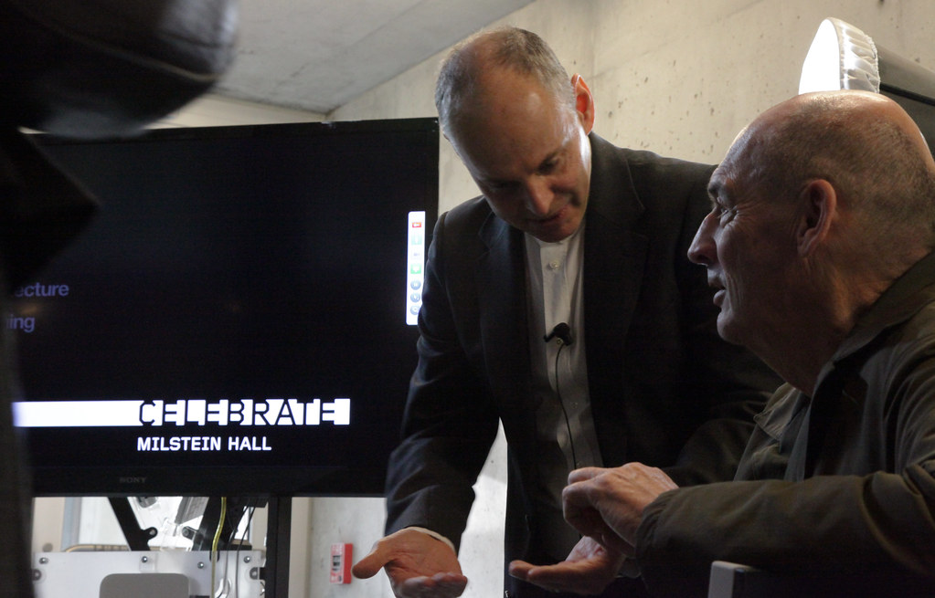Kent Kleinman, AAP dean, with OMA founding architect  Rem Koolhaas in the Abby and Howard Milstein Auditorium.