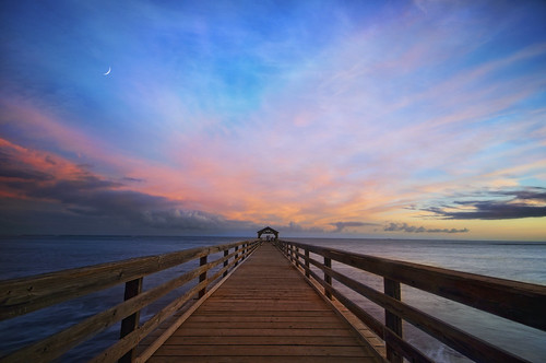 ocean wood sunset sky moon seascape beach water colors clouds hawaii pier pacific kauai