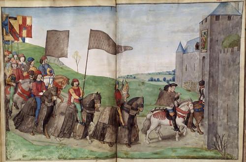016-Le libre des tournois…1460- René d' Anjou--Français 2692, fol. 46v-47-Entrada de los caballeros participantes en el Torneo