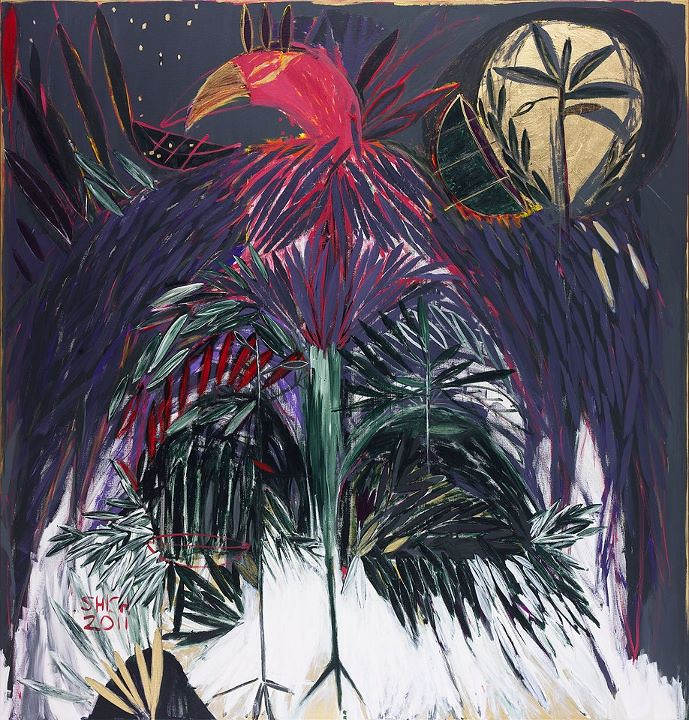 Khen Shish,  King Eagle, 2011,  acylic and gold leaves on canvas, 200×220 cm