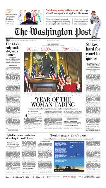 Front page, Washington Post, March 25. 2012