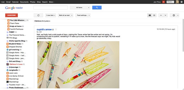 google reader page