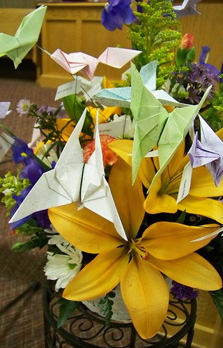 Recital flowers and origami butterflies