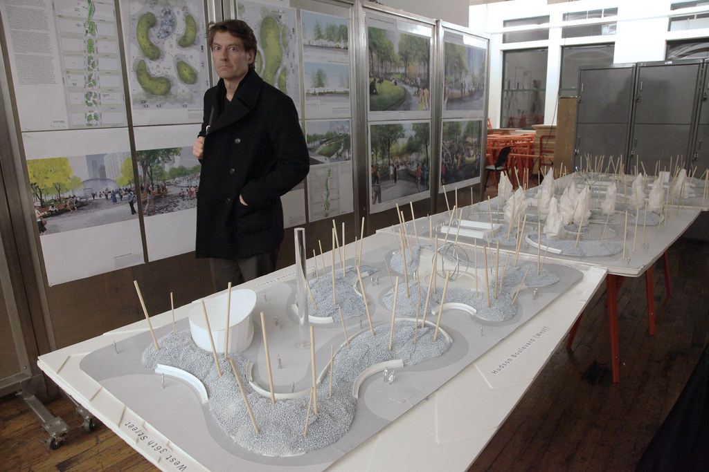 Landscape architecture firm MVVA's Hudson Yards model and drawings.