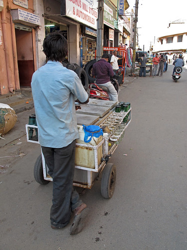 Lemonade cart with reusable glass bottles, India