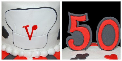 50th birthday cake details - 50 and chef hat