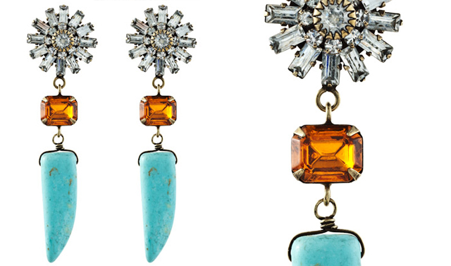 dannijo rhinestone and turquoise earrings