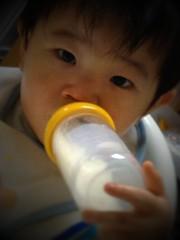 今日の片手哺乳瓶飲みとらちゃん(2012/2/19)