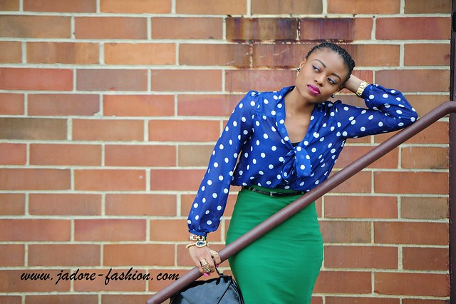 Green skirt & Polka Dots blouse By Jadore-fashion.com