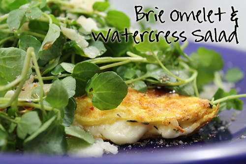 Brie Omelet and Watercress Salad