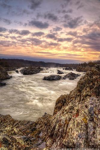 winter usa tree water clouds sunrise river landscape virginia waterfall nationalpark nikon falls potomacriver tomlussier