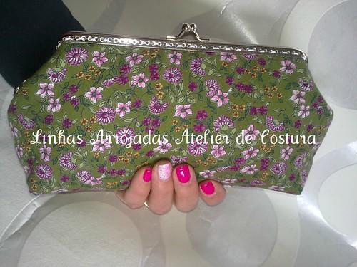 Clutch verde com flores by ♥Linhas Arrojadas Atelier de costura♥Sonyaxana