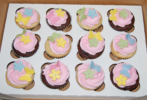 2nd birthday cupcakes - butterflies and hearts in pastel colors