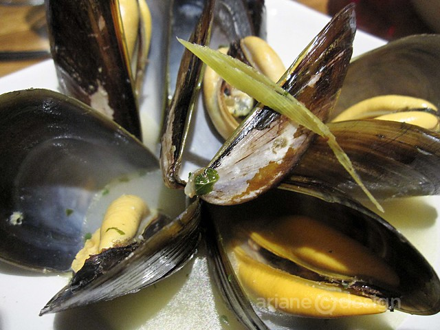 Honey mussels with lemongrass, basil, jalapeño, and coconut juice