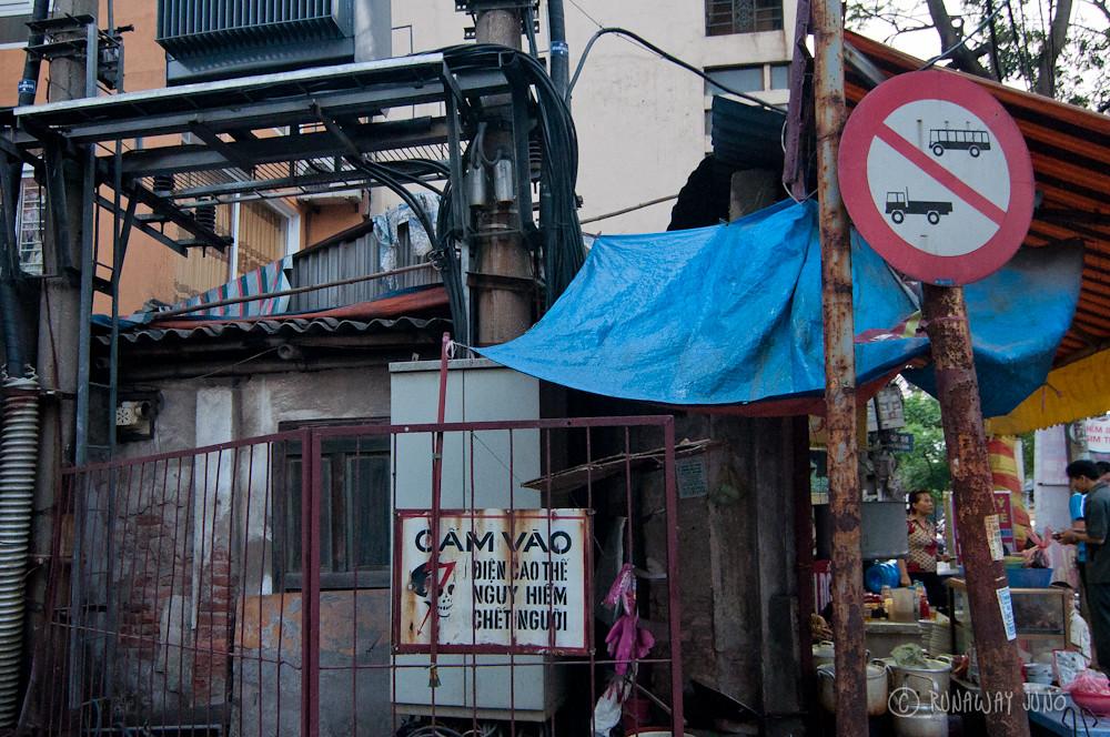 Danger Sign Hanoi Vietnam